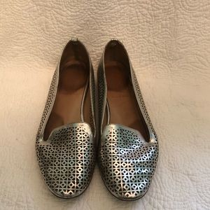 j crew silver perforated leather loafers